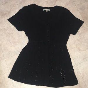 Vintage Suzie black short sleeve sweater cardigan